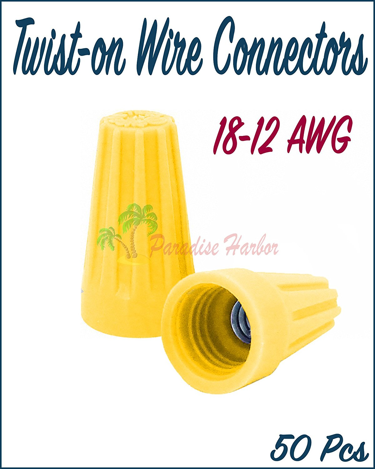 Paradise Harbor 50 Pcs Yellow Twist-On Wire GARD Connector Twist Wire Connector 18-12 AWG