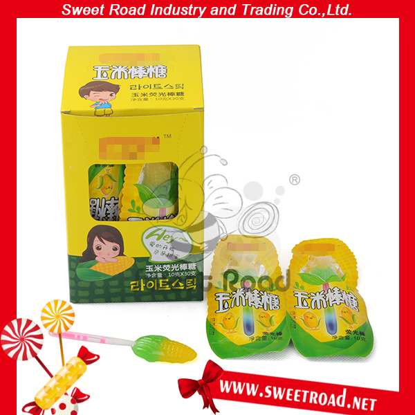 Halal Corn Shape Lollipop With Fluorescent Stick In Yellow Lollipop Candy box