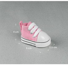 One Pair Mini Shoes Canvas Shoes 5 cm for 1 6 Scale Dolls Pink Red Color