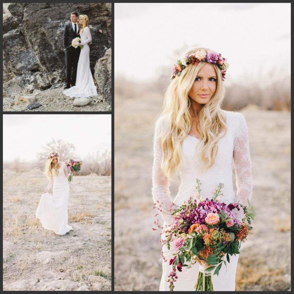 2016-Sheath-Bohemian-Style-Lace-Long-Sleeves-Wedding