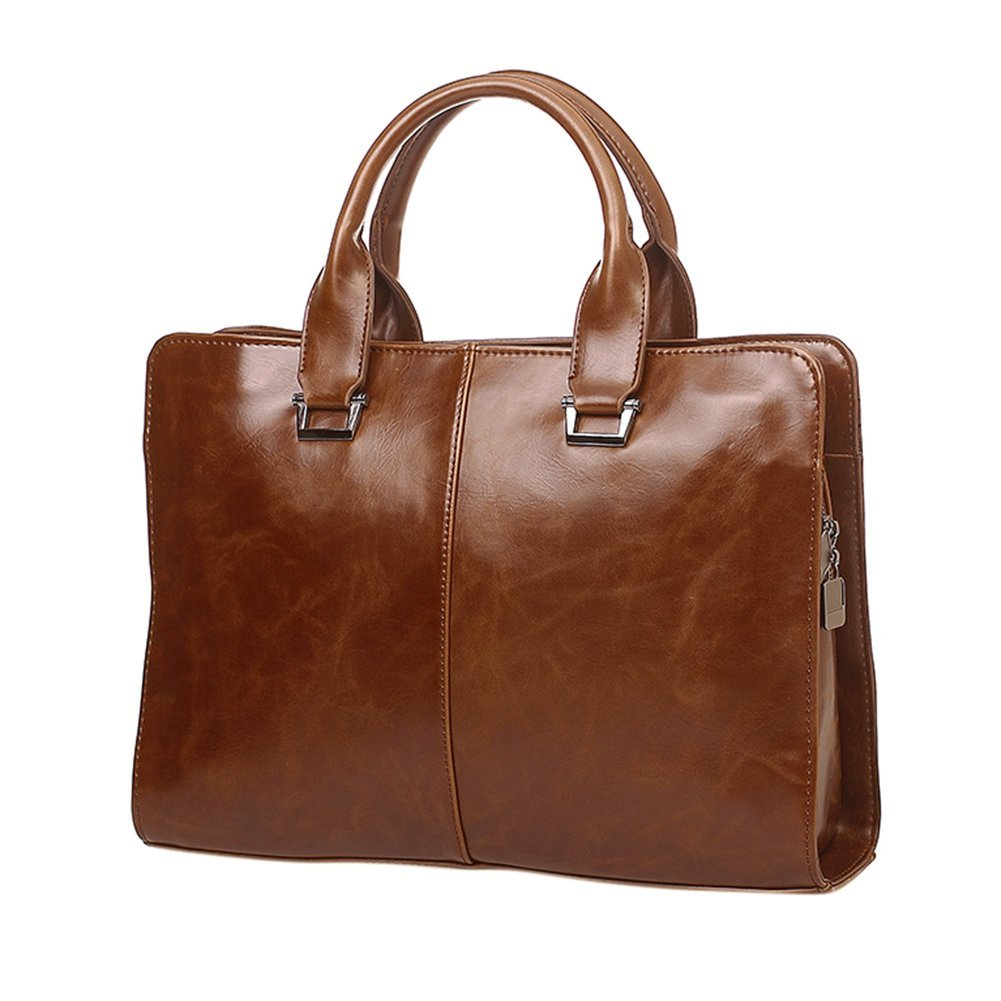 ThinkMax Male PU Leather Handbag Zipper Clutch Shoulder Bag Business Computer Briefcase Retro Bag Coffee