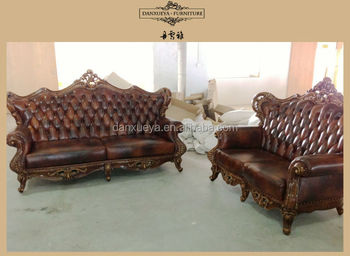 Red Leather Recliner Sofa Luxury Hand Carved Set