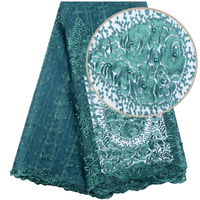 Green Nigerian Beaded Lace Fabric High Quality Beautiful Embroidered African Lace Fabric For Nigerian Dresses 1500