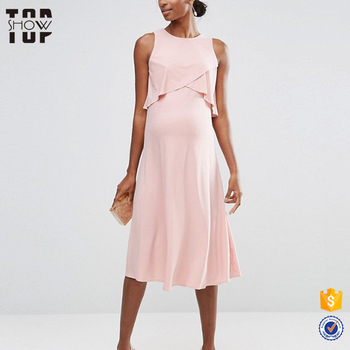 Latest maternity dress designs double layer pink maternity dress pregnant women