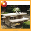 Natural stone garden bench with flower pot for outdoor furniture