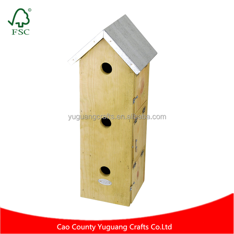 Custom Natural Wood Three Story Sparrow Birdhouse