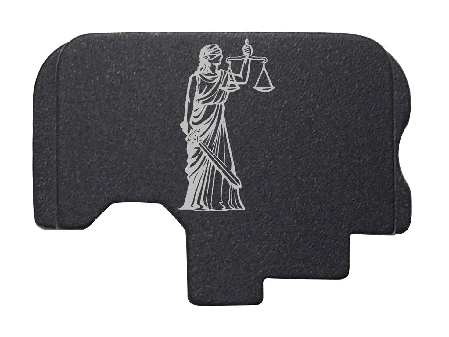 Truth Justice Scales Engraved Black Rear Slide Cover Plate For Kahr Arms 9MM Models: CT9 CW9 CM9 TP9 T9 P9 K9 PM9 MK9