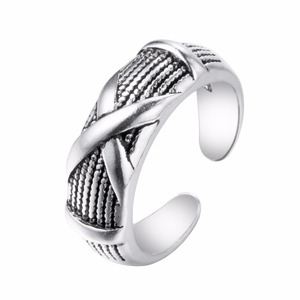 2017 European Style Sterling Silver Jewelry Round Open Ring New Design Women Accessory Divided X Silver Adjustable Ring