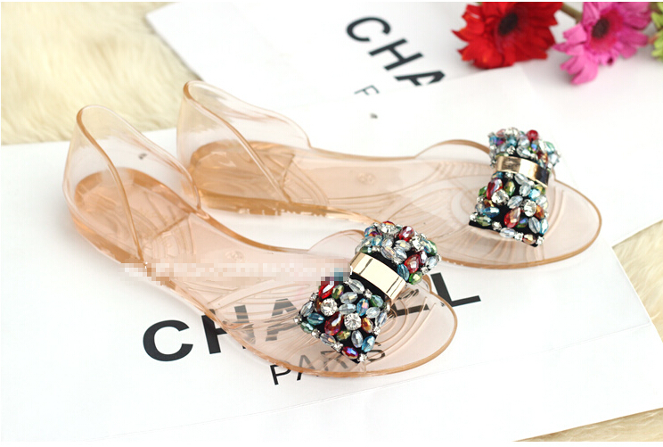 f6ad203f81 Melissa shoes Women's flat sandals 2015 new Jelly sandals Open toe shoes  Plus rhinestone Free shipping 35-40 Transparent white