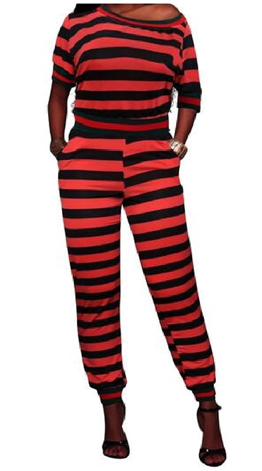 Zimaes-Women Stripe Top and Pants Plus-Size 2 Piece Set Short Sleeve Tracksuit