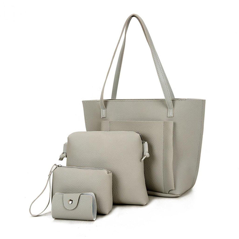 Catnew 4 Pcs Set Fashion Women Faux Leather Cross Body Shoulder Bag Handbag Card Holder