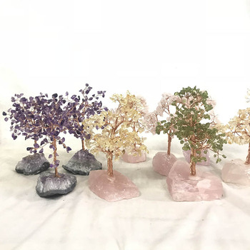 Nice Life Tree Natural Citrine Tree Lucky Rose Quartz Tree with Rough Gem Stone Base Wonderful Home Decoration Gifts