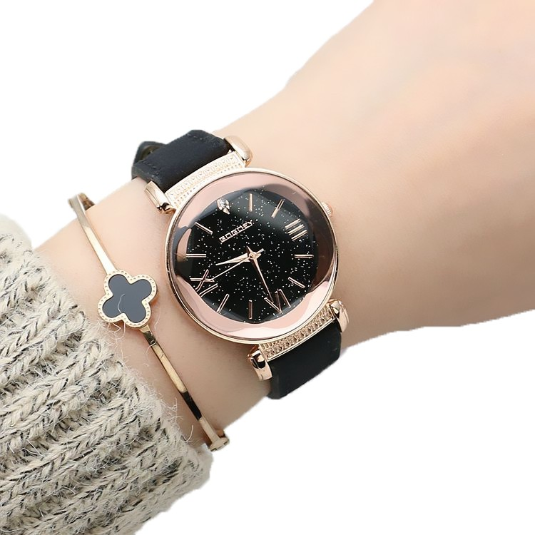 Neue mode gogoey marke rose gold leder uhren frauen damen casual dress quarz armbanduhr reloj mujer go4417