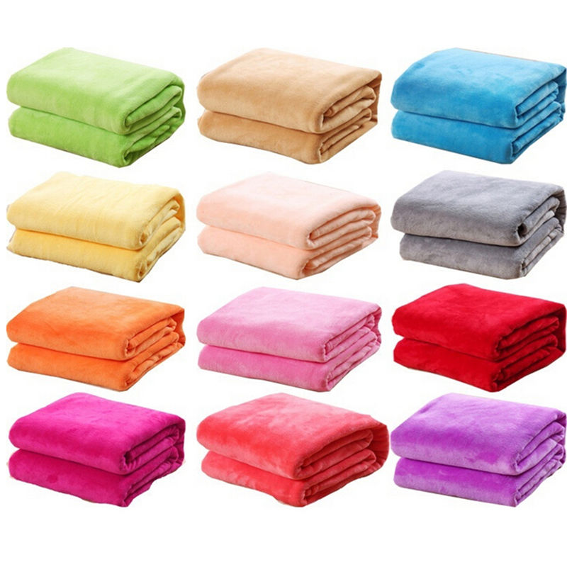 Soft Warm Solid Warm Micro Plush Fleece Blanket Throw Rug