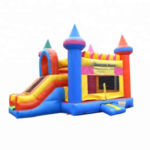 Commercial Outdoor inflatable castle with slide/ inflatable bouncer slide combo for kids