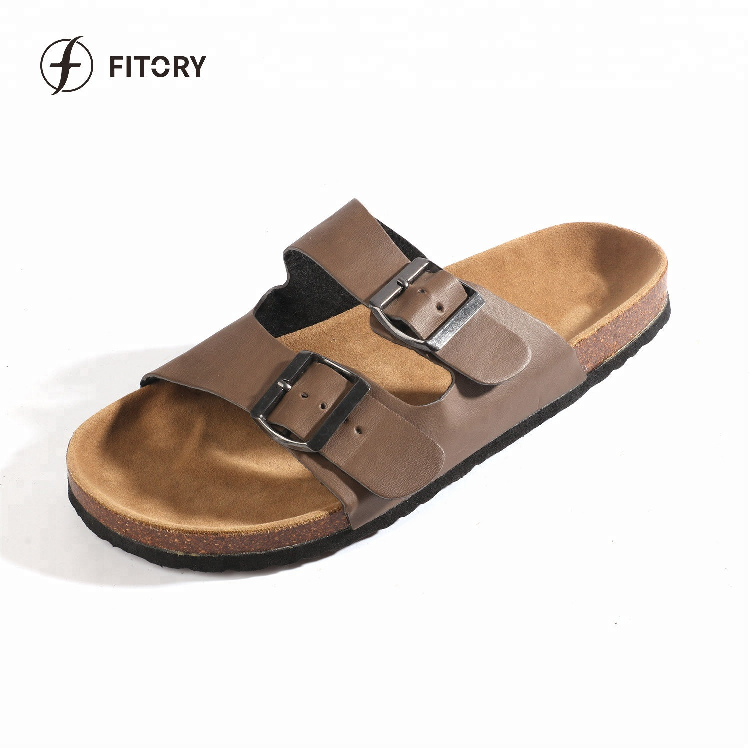 cd4a48b91 Fitory Leather Strap Comfortable Durable Cork Sole Sandals For Men ...