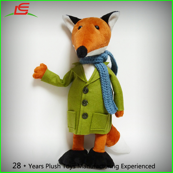 Green Felt Clothes Blue Knit Scarf The Little Prince Mister Fox Stuffed Plush Cuddly Baby Toy