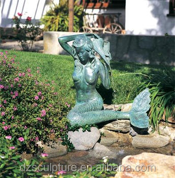 Bronze Garden Mermaid Water Fountain On Garden