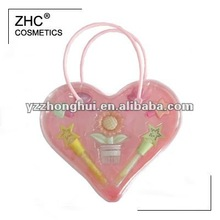 ZH1853 kids makeup set in heart shaped PVC bag