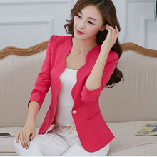 New Fashion 2015 Spring autumn Women Suit Jacket Coat Solid color slim OL ladies work wear blazer feminino chaquetas mujer J1421