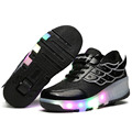 2016 New summer Children Heelys wheelies shoes Girls Boys Wing Led Light Sneakers black Shoes With