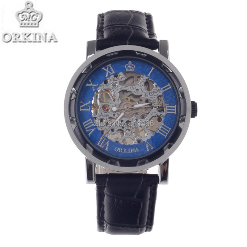Stainless Steel  Mechanical Hand Wind ORKINA KC023 Skeleton Analog Men Wrist Watch Black + Silver + Blue Mechanical Hand Wind