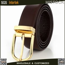 Gold Men's Fashion Clip Removable pin Buckle men belt with cow hide leather