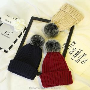 7da3646eb Warm winter Faux Fox Fur Pom pom hat single Colors High Quality Female  Winter Beanies hat