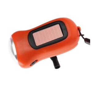 Outdoor Sports Camp Light 3 LED Hand Crank Dynamo Solar Powered Flashlight Torch