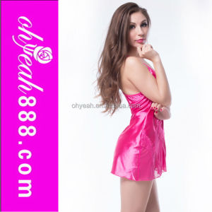 Wholesale mature women 2016 new patterns transparent girls slip sexy pink satin lingerie