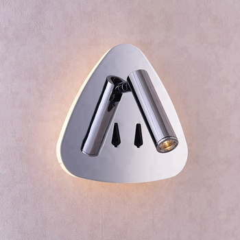 good quality design aluminum chrome triangle wall lights with reading lights with USB charger for Engineering custom