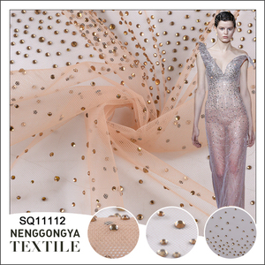Wholesale polyester mesh embroidery polka dots tulle lace fabric with rhinestone