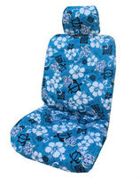 Hawaiian Blue Aloha Hibiscus Separate Headrest Car Seat Covers