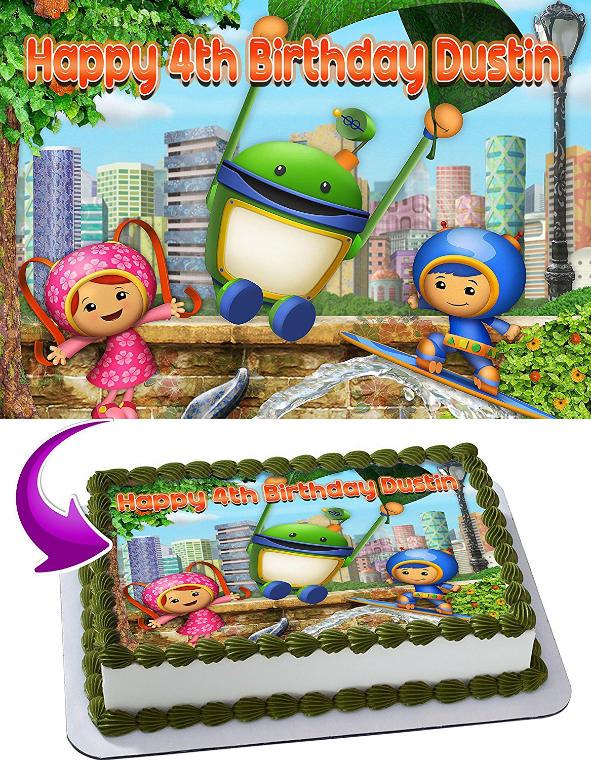 2951a5c22e80 Get Quotations · Team Umizoomi Birthday Cake Personalized Cake Toppers  Edible Frosting Photo Icing Sugar Paper A4 Sheet 1