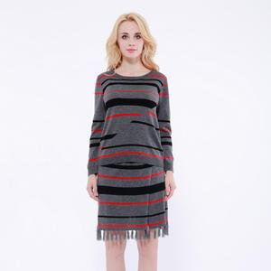 Woman irregular stripe long sleeve knitwear sweater and midi skirt set