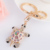 AP10199 novelty rhinestone kawaii tortoise keychain metal keyring fashion charms crystal turtle key holder jewelry