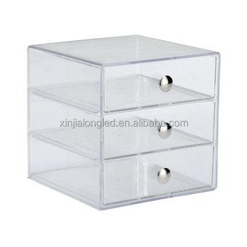 3 Tier Clear Acrylic Cosmetic Organizer Drawer Wholesale Acrylic Makeup Organizer