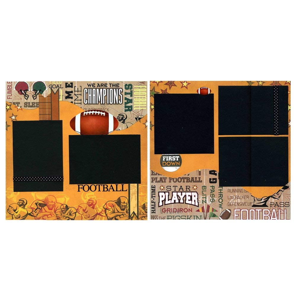 Football - Two Coordinating 12x12 Premade Scrapbook Pages