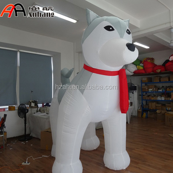 giant inflatable sled husky cartoon model for christmas decoration