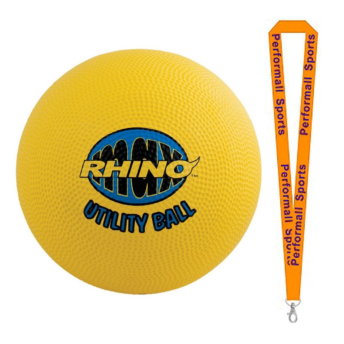 "Champion Sports Bundle: Rhino Max 10"" Utility Ball Yellow with 1 Performall Lanyard RMX10-1P"