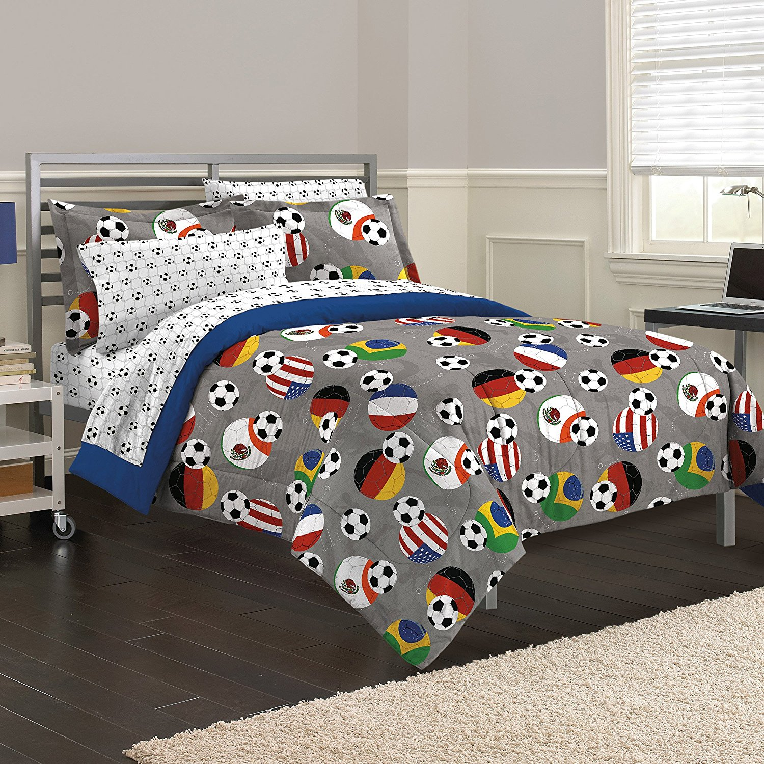 5 Piece Kids Grey Soccer Themed Comforter Twin Set, International Football Bedding Soccerball Sports USA Brazil Germany Mexico France Athletic Red Yellow Green, Reversible Solid Blue Polyester Cotton