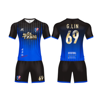 Popular Customized Professional Blue Soccer Outfits Sporting Futbol