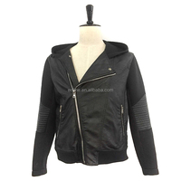 Black men pu leather jacket scuba patchwork hoodie jacket