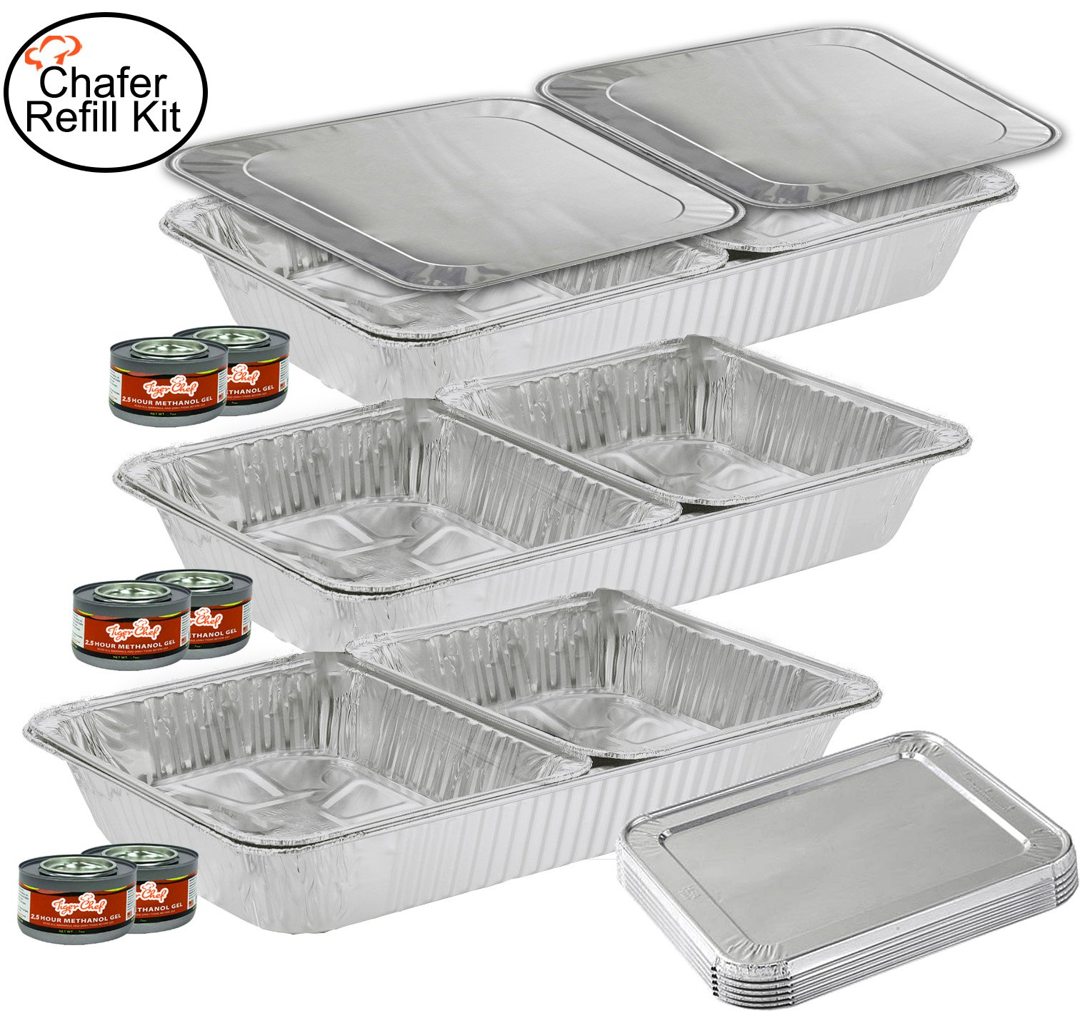 TigerChef TC-20520 Chafer Pans Set, Includes 3 Full Size Aluminum Steam Table Pans, 6 Half Size Aluminum Foil Pans with 6 Lids and 6 Gel Fuel Cans