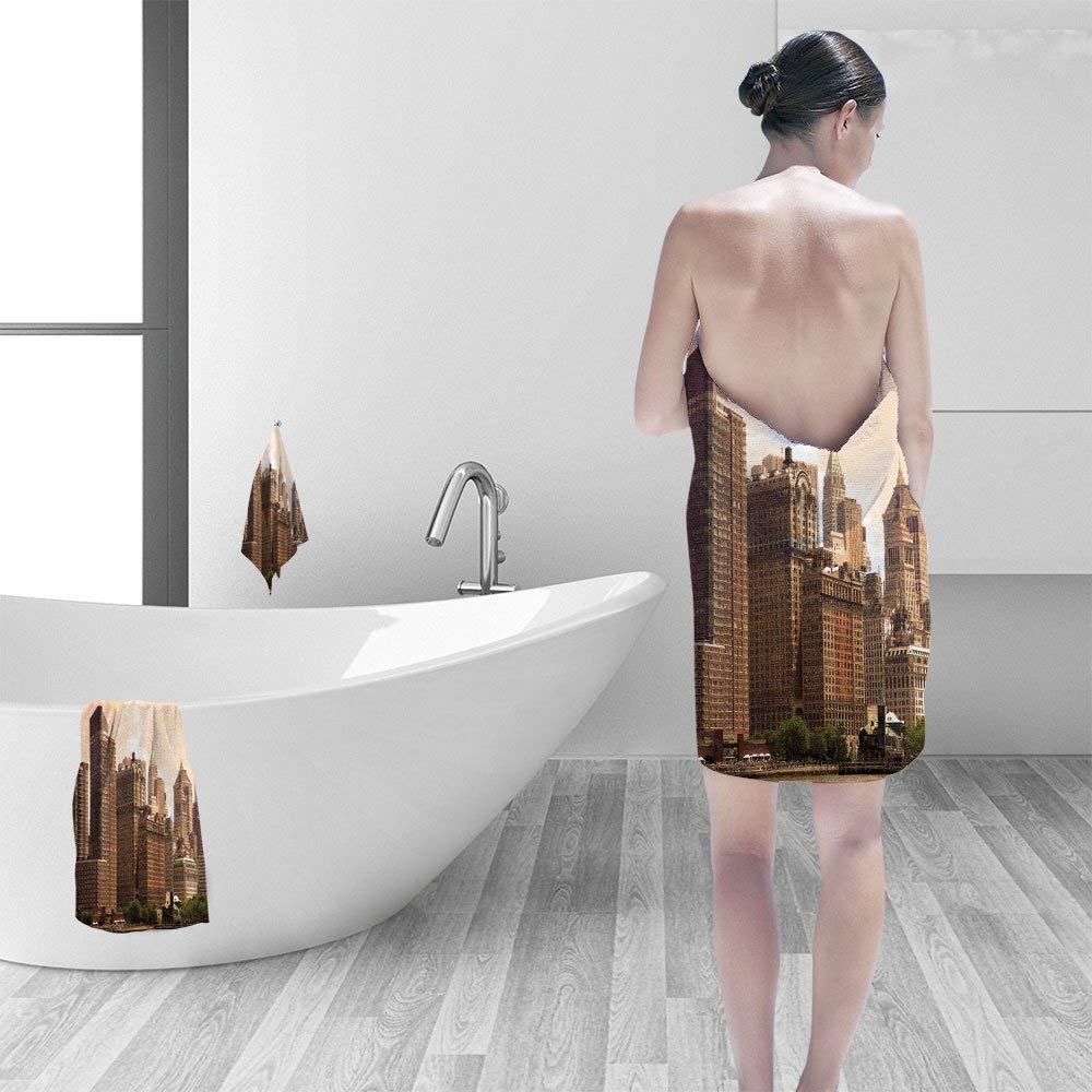 "Nalahomeqq Hand towel set cityscape of New York City in sepia personality printPolyesternon-mildewpattern custom made19.7""x19.7""-13.8""x27.6""-31.5""x63"""