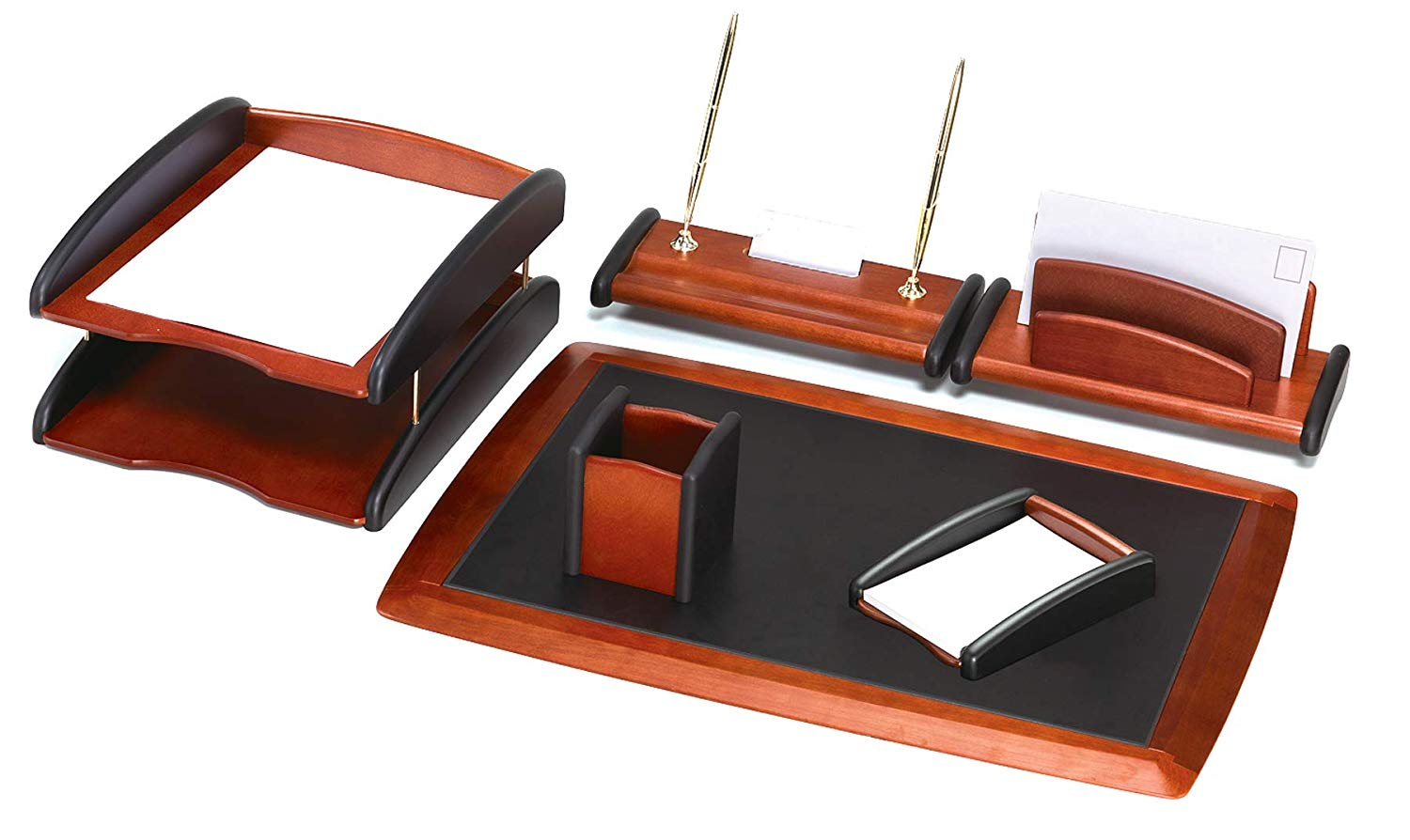 Colonial Pine Wood Finish & MDF 6-Piece Desk Organizer Set Includes a Full Desk Pad, Two-Tier Document Filing Tray, Memo Holder, Pencil/Pen Holder, Letter Holder, Office Desk Pen Holder
