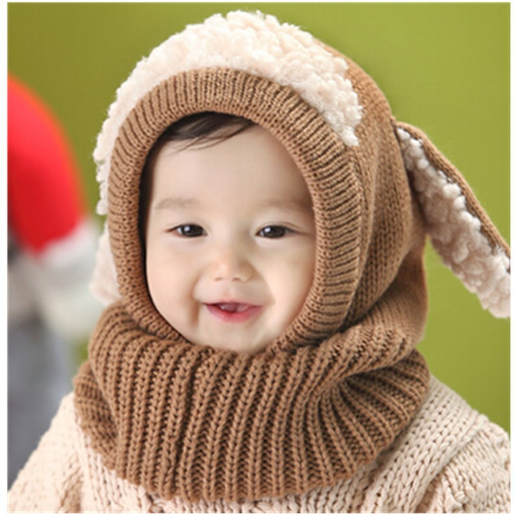 KAKA(TM) Lovely Puppy Design Baby Infant Winter Warm Knitted Hooded Scarf Neck Warmer Hat Cap Shawls-Khaki