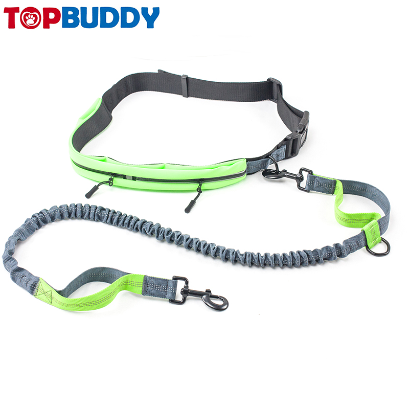 Topbuddy Amazon superventas cinturón ajustable bolsa extensible bungee inteligentes retráctil doble mango running Dog leash plomo