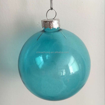 Clear Blue Color Gl Ball Bauble Ornaments Decorations For Christmas