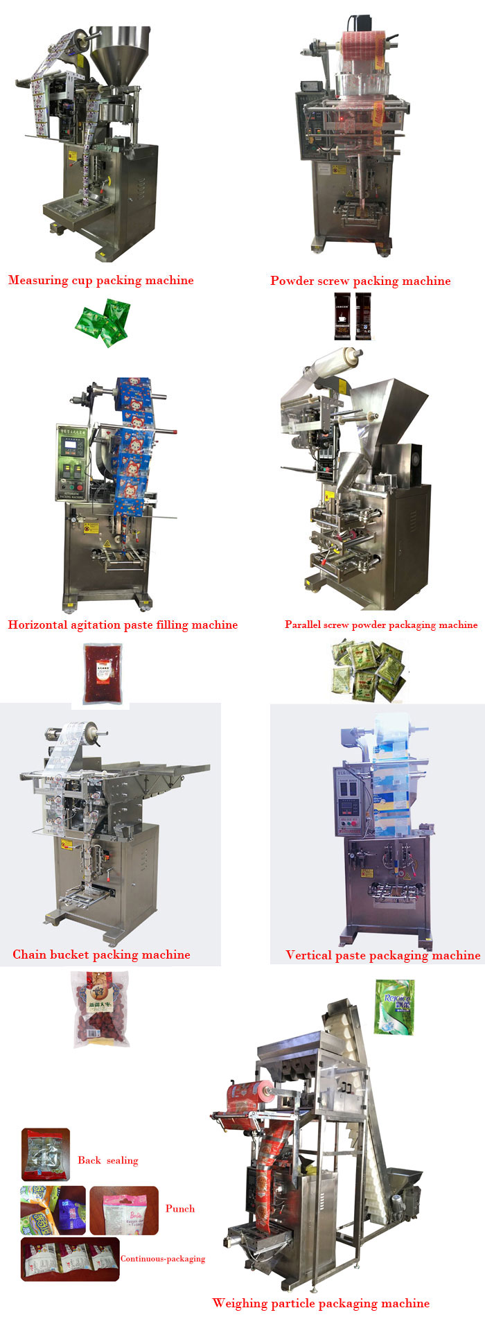 Automatic particle packaging machine for peanut/chin chin bag with punching